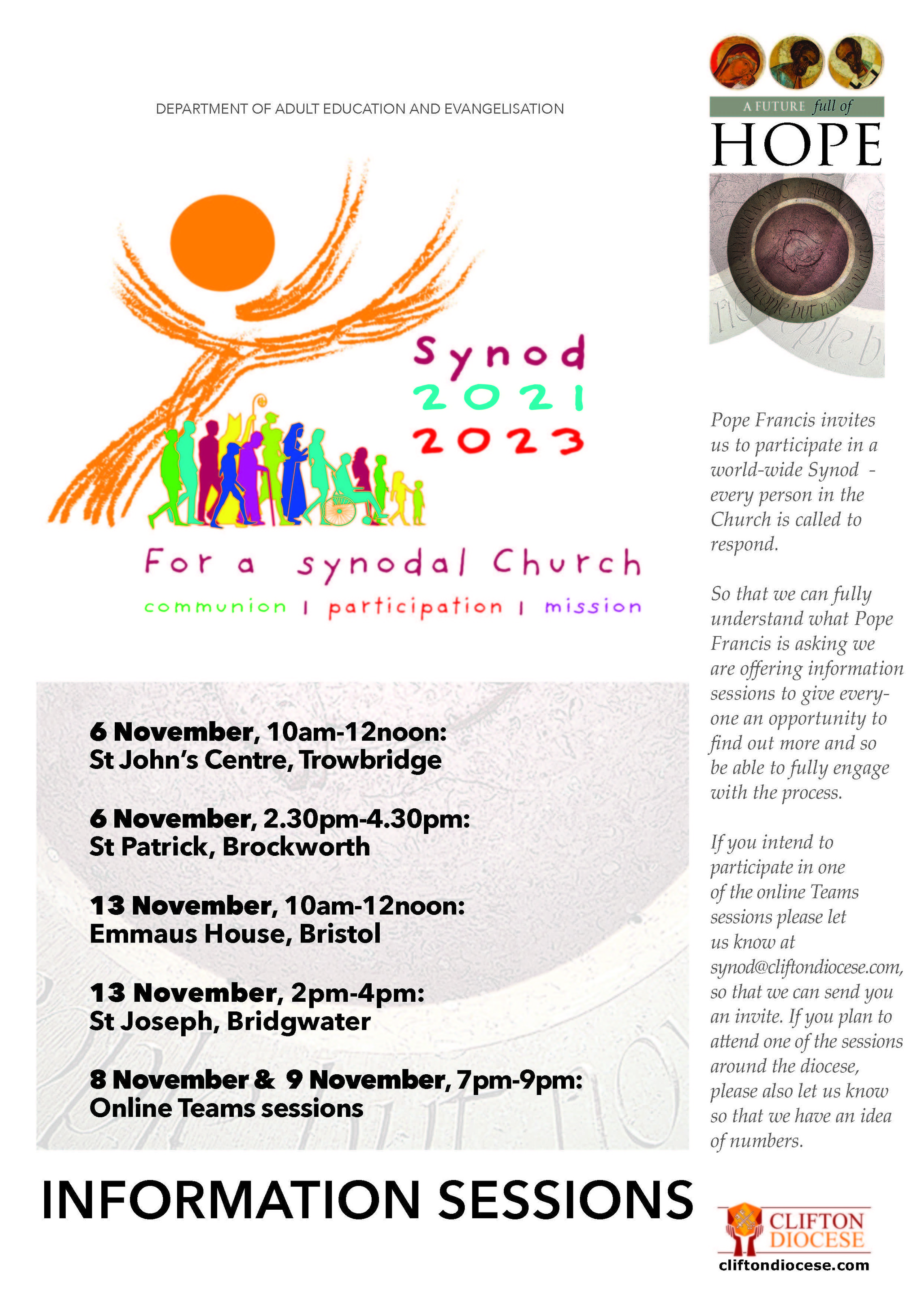 Synod Info Sessions Poster
