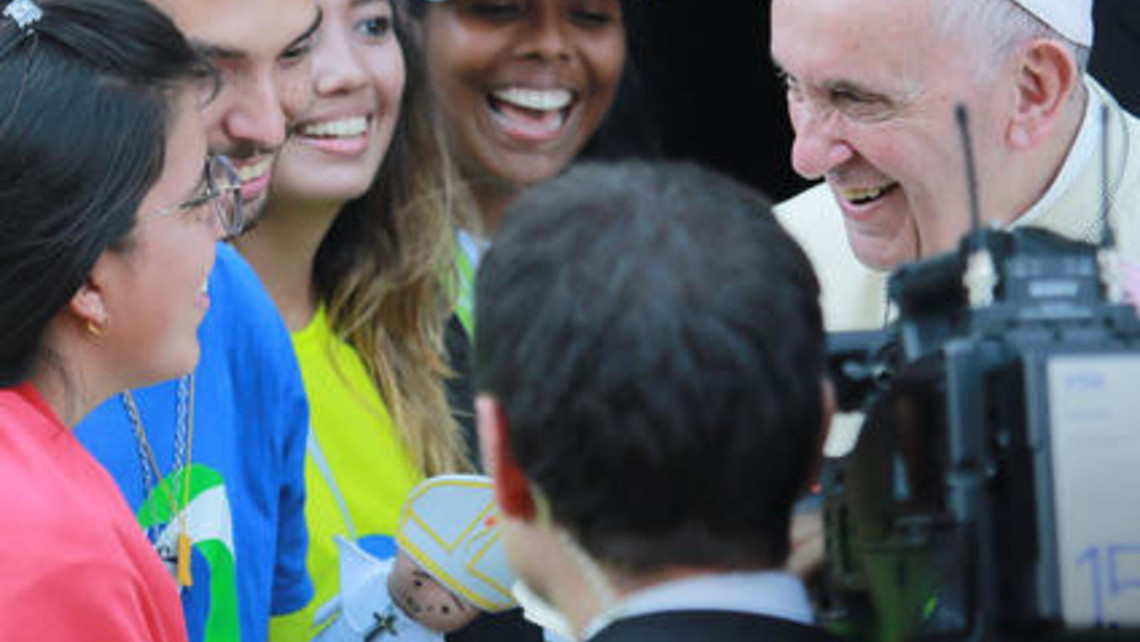 Pope Francis Filmed With Young People Medium